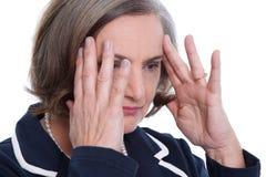 Mature lady headache. Mature lady has a headache - migraine Stock Photography