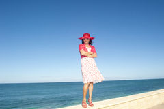 Mature lady  ocean background Stock Images