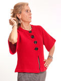 Mature Lady in red Stock Photography
