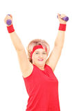 Mature lady working out with dumbbells Royalty Free Stock Image