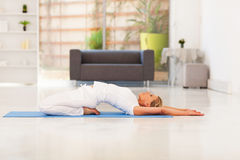 Mature lady yoga Royalty Free Stock Photo