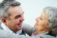 Mature love. Close-up portrait of a mature couple in love royalty free stock images