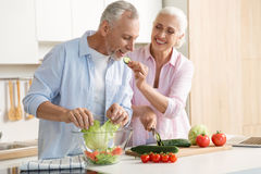 Mature loving couple family using laptop and cooking salad. Picture of mature loving couple family standing at the kitchen using laptop computer and cooking stock image