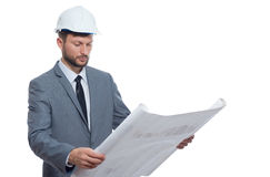 Mature male architect with a blueprint royalty free stock photography