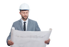 Mature male architect with a blueprint Stock Photo