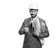 Mature male architect with a blueprint Stock Images
