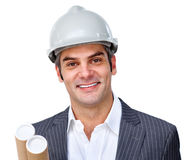 Mature male architect wearing a hardhat Royalty Free Stock Photos