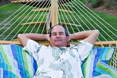 Mature Male In Hammock Royalty Free Stock Images