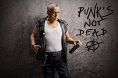 Mature male punker holding a wall spray and leaning against a rusty gray wall with written punk`s not dead and anarchy sign. Mature male punker holding a wall royalty free stock images