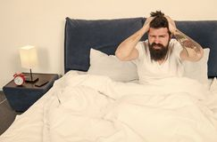 Free Mature Male With Beard In Pajama On Bed. Brutal Sleepy Man In Bedroom. Asleep And Awake. Too Early To Wake Up. Energy Royalty Free Stock Photo - 158197675