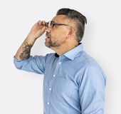 Mature Man Amazed Looking Glasses Concept Stock Image