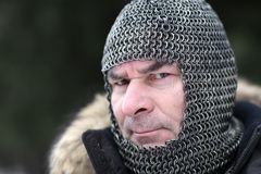 Mature man in armor Stock Photo
