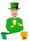 Mature man with arms folded dressed as leprechaun celebrating Saint Patrick day Royalty Free Stock Photos