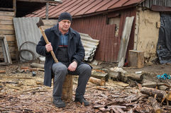Mature man with an axe Stock Image