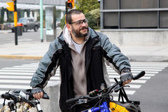 Mature man with bike active in the city Stock Image