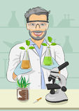 Mature man biologist with protective glasses holding two flasks with plants next to microscope in laboratory Stock Images