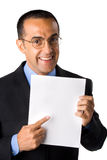 Mature man in black suit with paper 2 Stock Photos
