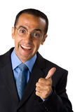 Mature man in black suit, thumbs up Royalty Free Stock Photos