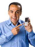 Mature man with blue shirt and cellular phone Stock Image