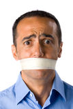 Mature man with blue shirt, closed mouth Royalty Free Stock Photos