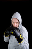Mature man with boxing gloves Stock Photo