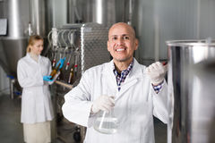 Mature man among brewery equipment. Mature cheerful experienced men wearing a uniform standing among brewery stainless equipment Royalty Free Stock Photography