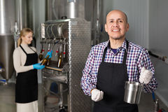 Mature man among brewery equipment. Mature cheerful men wearing the uniform standing among brewery stainless equipment Royalty Free Stock Images