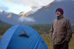 Mature man camping. In the nature royalty free stock images