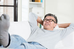 Mature man daydreaming Royalty Free Stock Photography