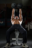 Mature Man Doing Dumbbell Incline Bench Press Workout Royalty Free Stock Photography