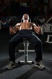 Mature Man Doing Dumbbell Incline Bench Press Workout Stock Images