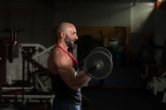 Mature Man Doing Exercise For Biceps Stock Image