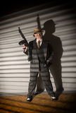 Mature man dressed as a 1940s gangster Stock Image