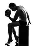 Mature man exercising body building silhouette Royalty Free Stock Photo