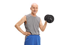 Mature man exercising with a dumbbell Stock Image
