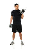 Mature Man Exercising With Dumbbells Royalty Free Stock Image