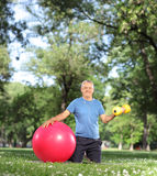 Mature man exercising in park Royalty Free Stock Photo
