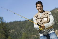 Mature Man Fishing Royalty Free Stock Images