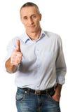 Mature man gesturing ok sign Stock Photo