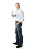Mature man gesturing ok sign Stock Photos