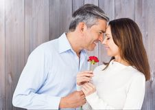 Mature man giving red rose to woman Royalty Free Stock Photo
