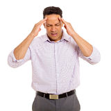 Mature man having headache Royalty Free Stock Photography