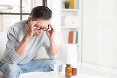 Mature man headache Royalty Free Stock Images