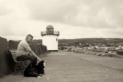 A mature man and his dog Royalty Free Stock Photo