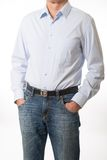 Mature man with his hands in pockets Stock Photos