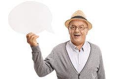 Mature man holding a chat bubble and smiling Stock Photography