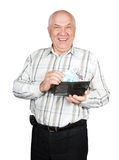 Mature man  holding   wallet with money Royalty Free Stock Images