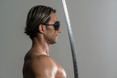 Mature Man Holding Warrior Sword Stock Photos