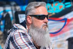 Mature man with long grey beard wearing sunglasses. Against painted wall on sunny day, close up view Royalty Free Stock Photo
