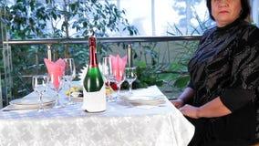 A Mature Man Meets A Woman At A Restaurant stock video